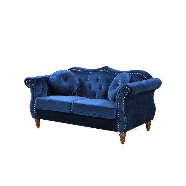 Bridges Classic Nailhead Chesterfield Loveseat by Rosdorf Park