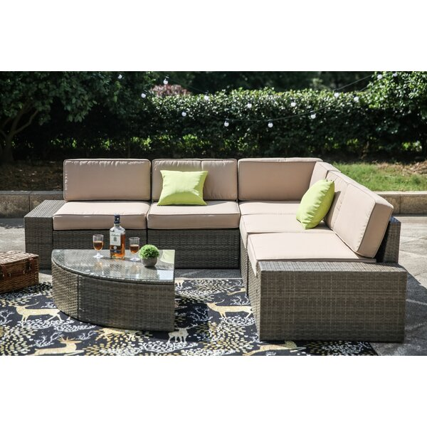 Pierceton 6 Piece Rattan Sectional Seating Group With Cushions By Brayden Studio by Brayden Studio Sale