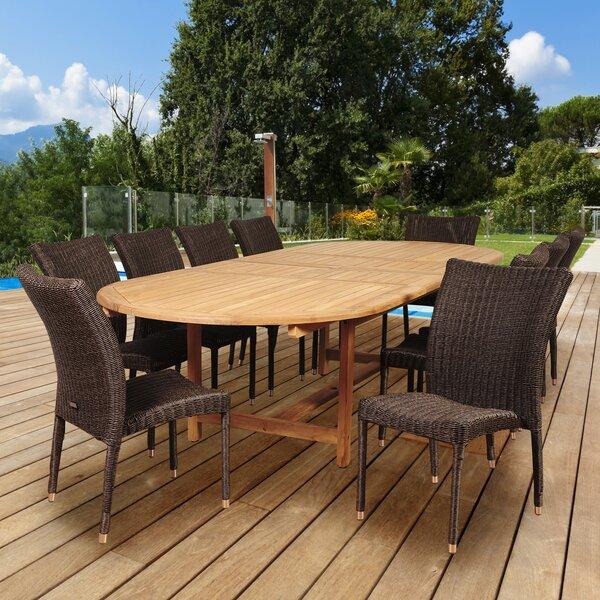 Troyer International Home Outdoor 11 Piece Teak Dining Set by Highland Dunes