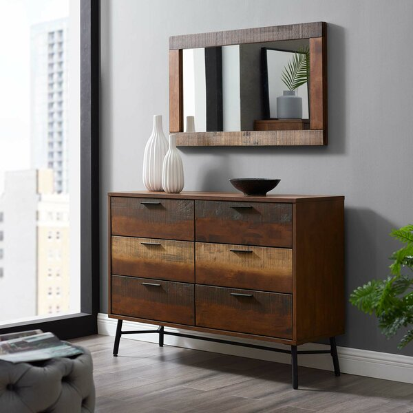 Borman 6 Drawer Double Dresser with Mirror by World Menagerie