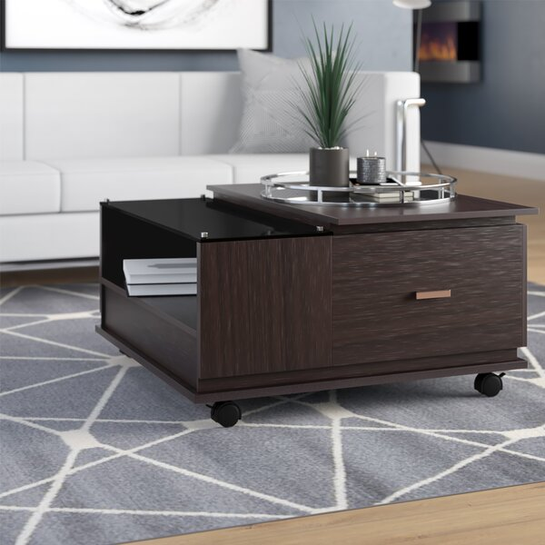 Gorman Wheel Coffee Table With Storage By Wrought Studio