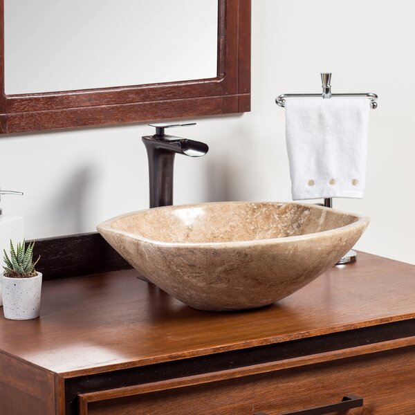 Natural Aron Stone Oval Vessel Bathroom Sink by Laguna Marble
