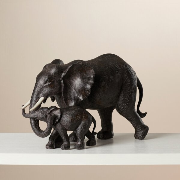 Mother And Baby African Elephant Figurine By World Menagerie.