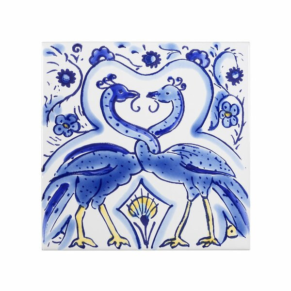 Mediterranean 4 x 4 Ceramic Peacocks Decorative Tile in Blue by Casablanca Market