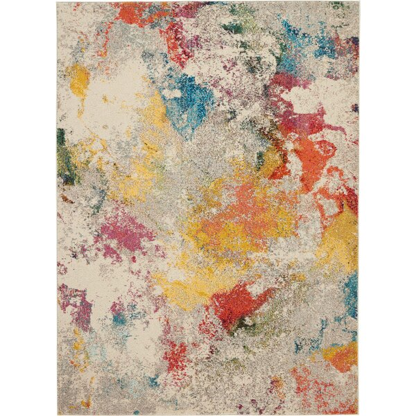 Allegro Bohemian Abstract Ivory/Yellow Area Rug by Ivy Bronx
