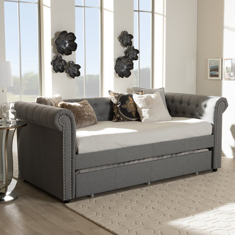 house of hampton mickel modern and contemporary fabric daybed with trundle reviews. Black Bedroom Furniture Sets. Home Design Ideas
