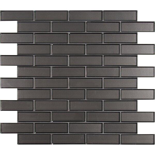 Metal Bevel Mesh-Mounted Brick 2 x 6 Glass Subway/Mosaic Tile in Gray by MSI