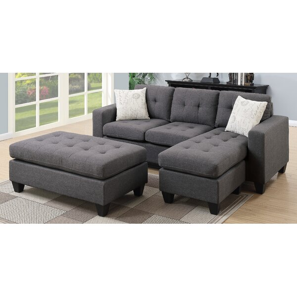 Fleshman Reversible Sectional With Ottoman By Winston Porter