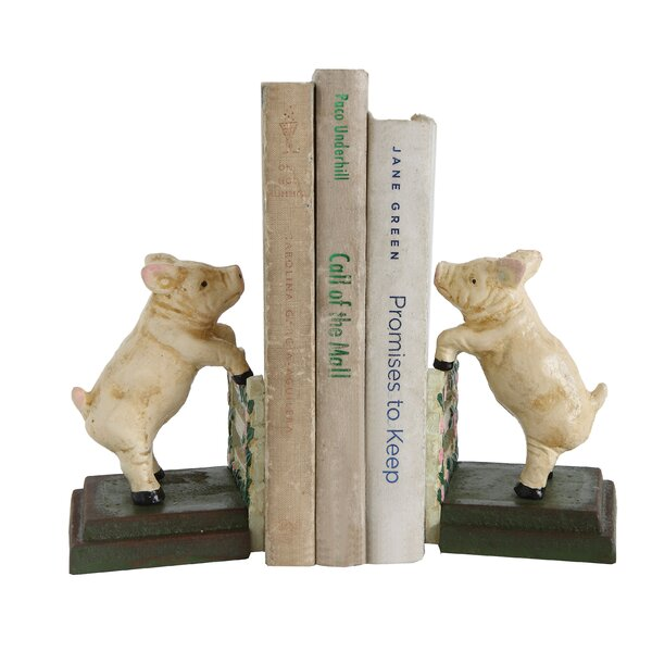 Cast Iron Reproduction Pig Bookends (Set of 2) by August Grove
