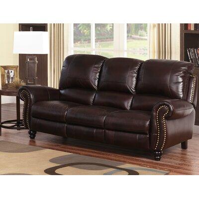Williston Forge Leather Reclining Round Arms Sofa Sofas