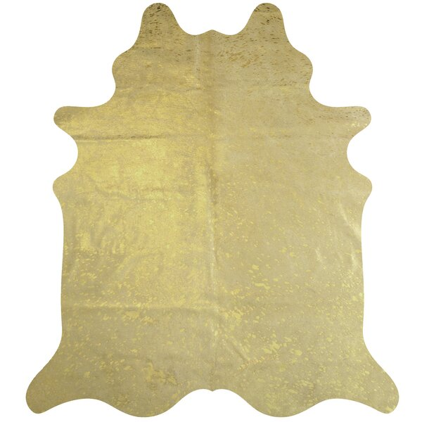 Handmade Cowhide Gold Area Rug by Deco Hides