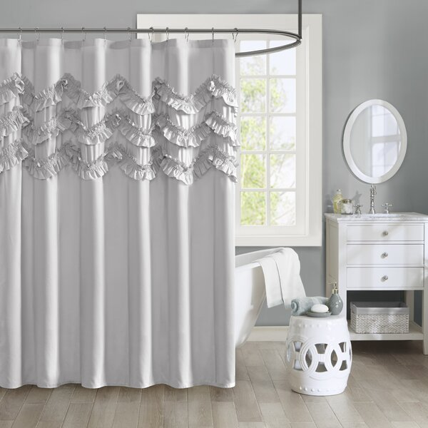 Avrah Ruffle Microfiber Shower Curtain by Ophelia