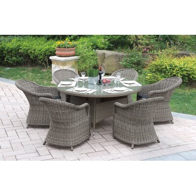 7 Piece Dining Set with Cushions JB Patio Color: Natural Brown