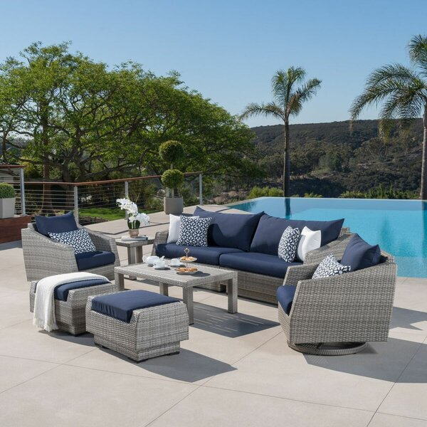 Johana 8 Piece Rattan Sunbrella Sofa Seating Group with Cushions by Wade Logan