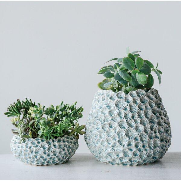 Lettie Textured Ceramic Pot Planter by Highland Dunes