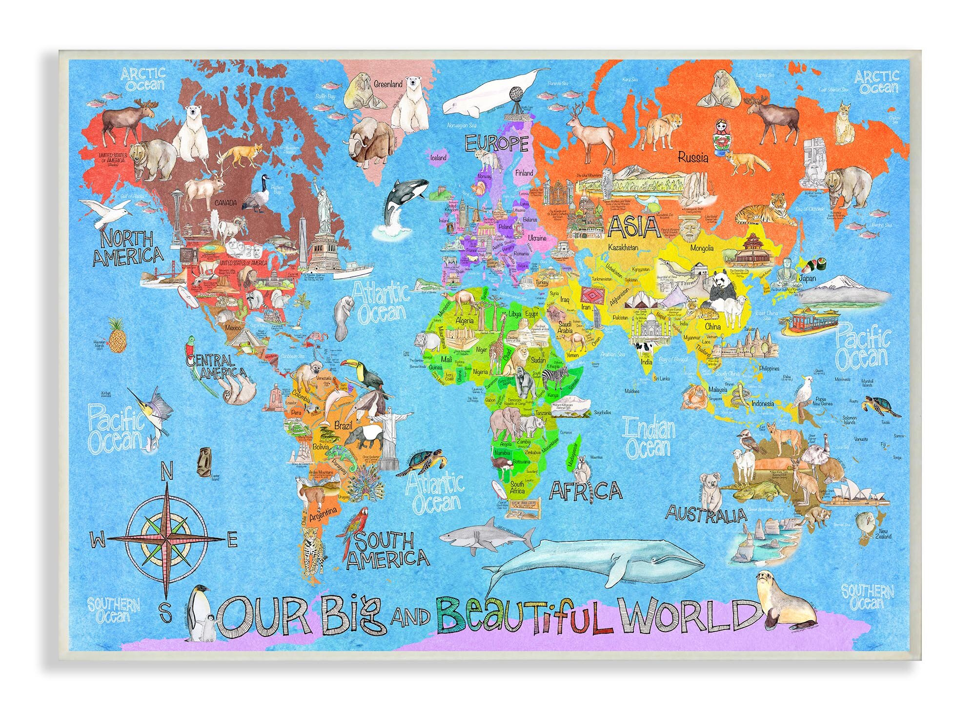 Stupell Industries Our Big Beautiful World Map Wall Plaque Wayfair