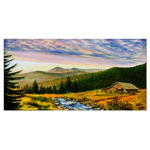 Sunset in Mountains Landscape Painting Print on Wrapped Canvas by Design Art