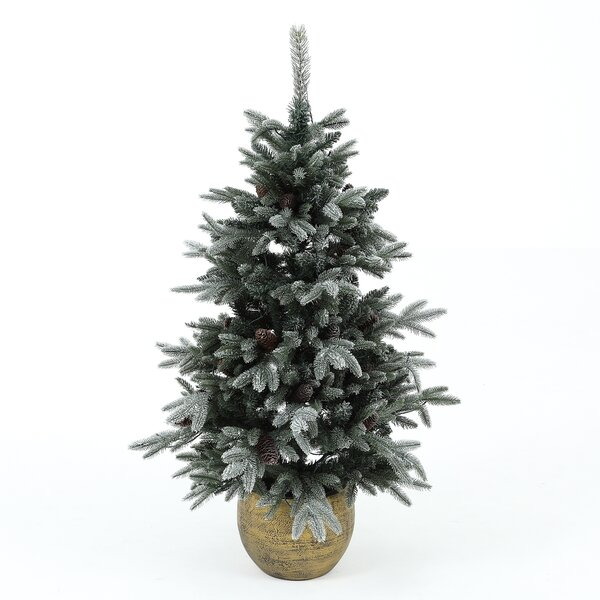 54 Green Leaves Pine Trees Artificial Christmas Tree with 100 Lights Clear/White Lights by The Holiday Aisle