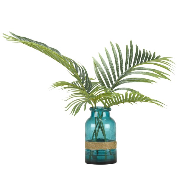 Cycas Fronds Glass Floor Palm Plant in Rope Decorative Vase by Bay Isle Home