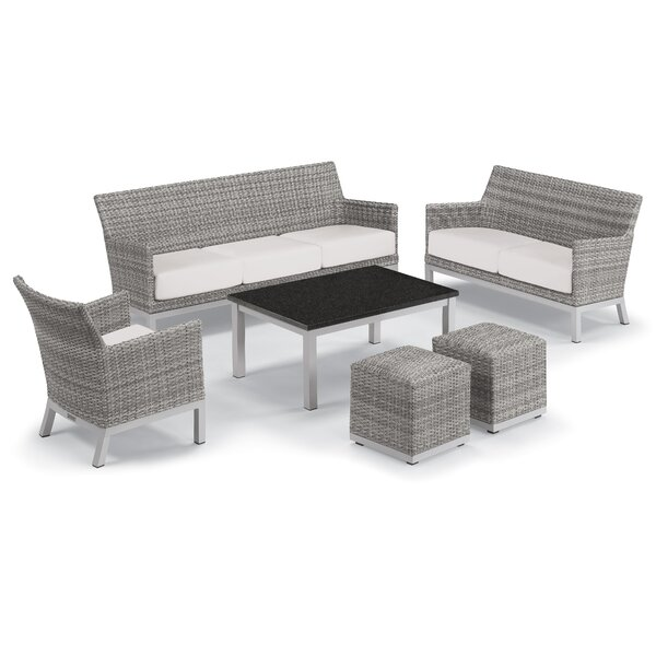Linndale 6 Piece Rattan Conversation Set with Cushions by Bungalow Rose