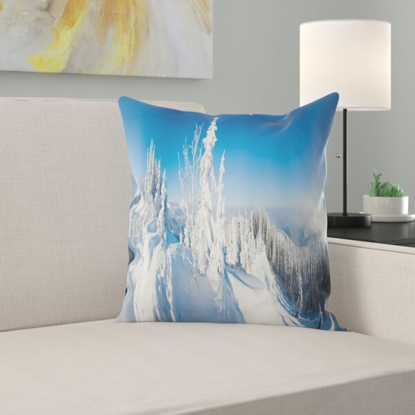 Photography Panoramic Winter Mountain Pillow by East Urban Home