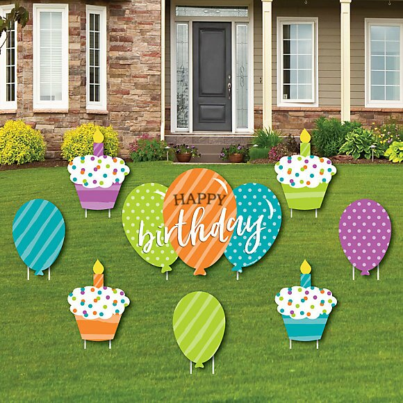 The Holiday Aisle 8 Piece Cupcake Balloon Happy Birthday Lawn Art Set