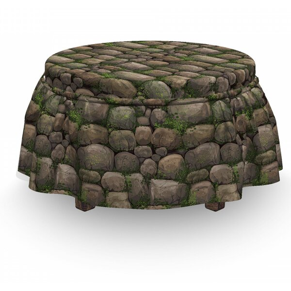 Nature Stones Covered 2 Piece Box Cushion Ottoman Slipcover Set By East Urban Home
