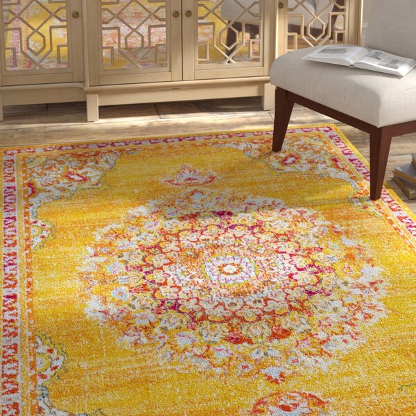 Berry Yellow/Red Area Rug by Bungalow Rose
