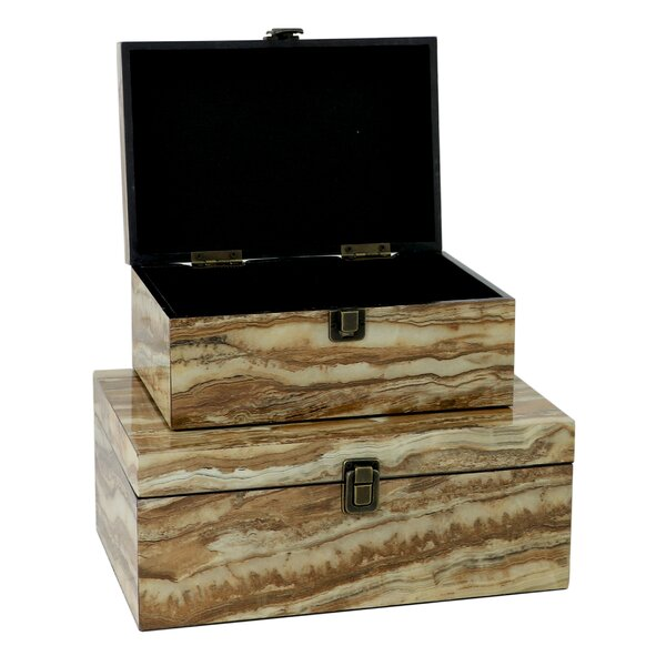 2 Piece Wood Decorative Box Set by George Oliver
