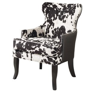 Bon Faux Cowhide Accent Wingback Chair