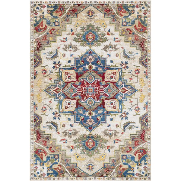 Arbouet Floral Brown/Cream Oriental Area Rug by Charlton Home