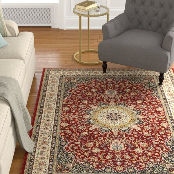 Knighten Classic Medallion Red/Ivory Area Rug by Astoria Grand