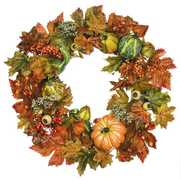 22 Foliage and Pumpkins Wreath by Andover Mills
