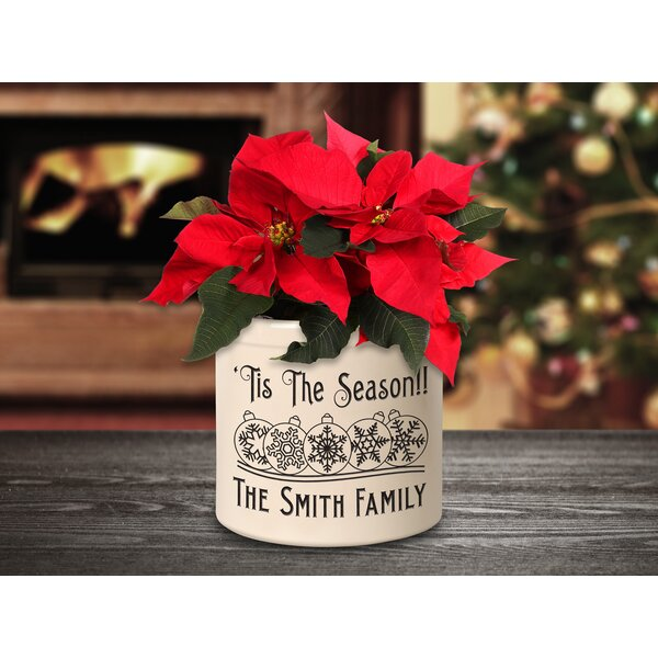 West Broadway Personalized Snowflake Ornament Ceramic Pot Planter by The Holiday Aisle