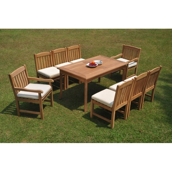 Dasheil 9 Piece Teak Dining Set by Rosecliff Heights