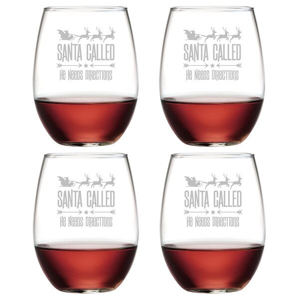 Santa Called Glass 21 oz. All Purpose Stemless Wine Glass (Set of 4) by The Holiday Aisle
