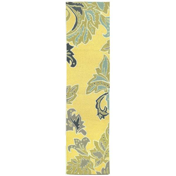 Cosmo Ornamental Leaf Border Yellow Indoor/Outdoor Area Rug by Latitude Run