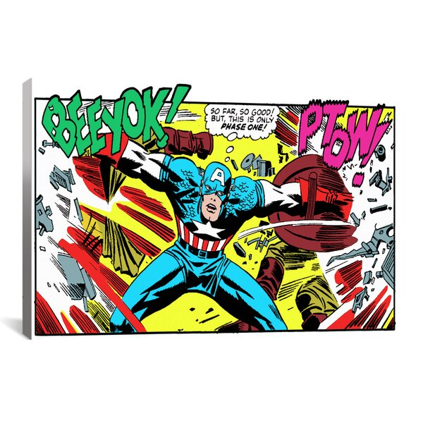 Marvel Comics Book Captain America Graphic Art on Wrapped Canvas by iCanvas