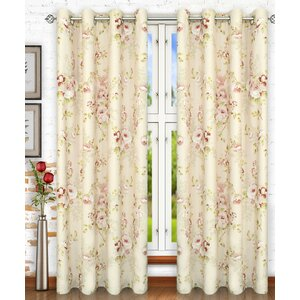 Chatsworth Lined Top Nature / Floral Semi-Sheer Grommet Single Curtain Panel
