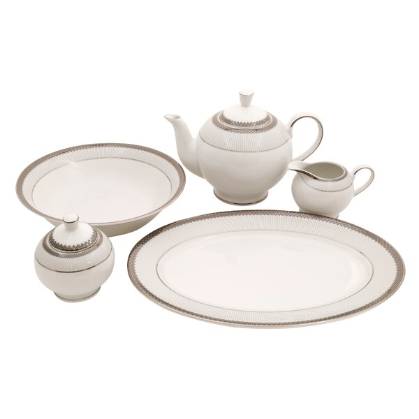 Diamond Fine China Traditional Serving 5 Piece Dinnerware Set by Shinepukur Ceramics USA, Inc.