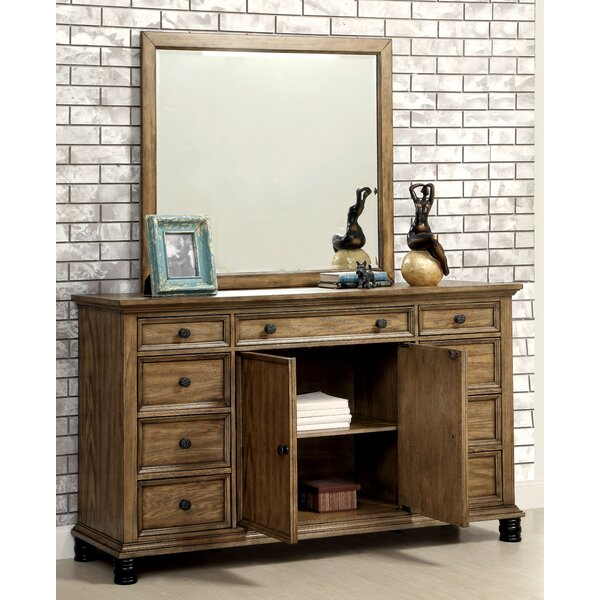 Zebadiah 9 Drawer Combo Dresser with Mirror by Gracie Oaks