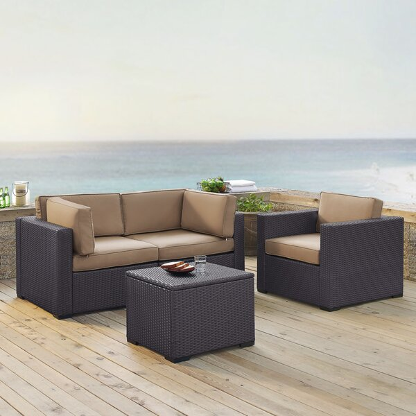 Lawson 4 Piece Rattan Sectional Seating Group with Cushions by Birch Lane™ Heritage