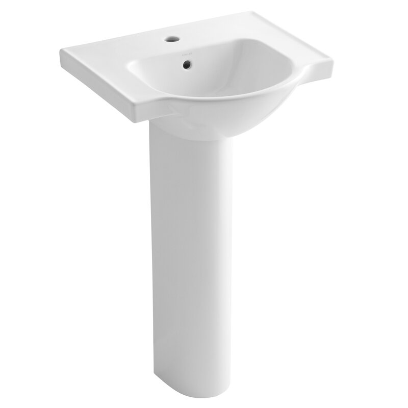 "Kohler® Veer 36"" Pedestal Bathroom Sink with Overflow ..."