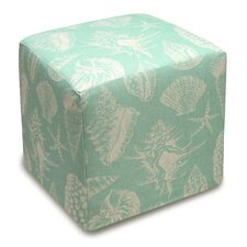 Seashells Upholstered Cube Ottoman by 123 Creations