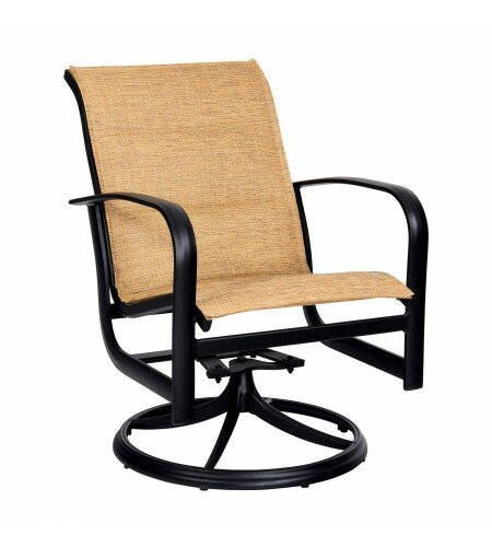 Fremont Padded Sling Rocker Swivel Patio Dining Chair by Woodard