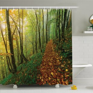 Best Deals National Parks Home Surreal Foggy Deep in Forest Eco Path Full of Leaves Landscape Shower Curtain Set ByAmbesonne