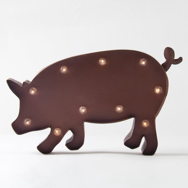 Rusty Pig LED Marquee Sign by Glitzhome