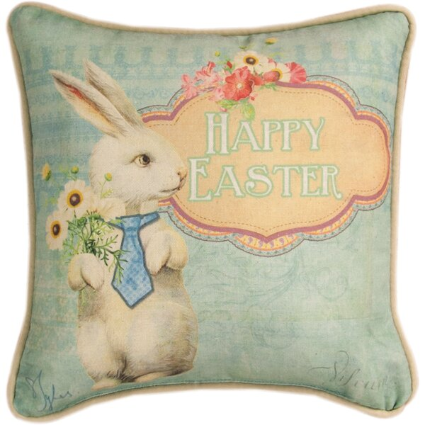 Happy Easter Cotton Throw Pillow by Manual Woodworkers & Weavers