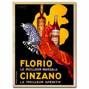 'Florio Cinzano' Framed Vintage Advertisement on Wrapped Canvas by Trademark Fine Art