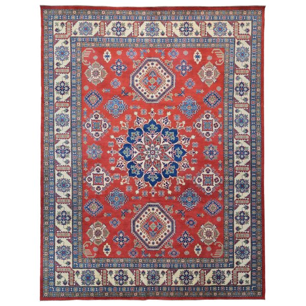 One-of-a-Kind Flaxt Oriental Hand-Knotted Blue/Red Area Rug by Isabelline